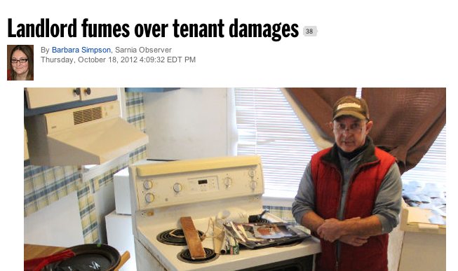 Landlord Fumes Over Tenant Damages in Sarnia